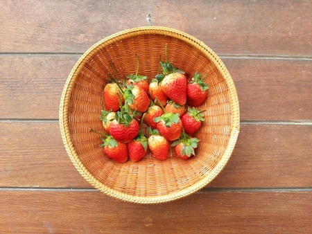 repast: Strawberry in Thai traditional basket