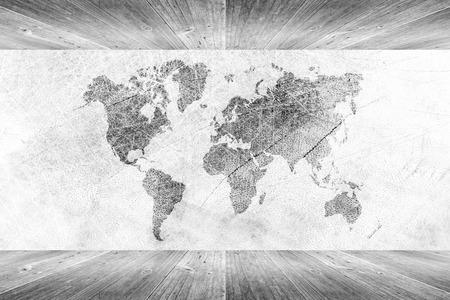 Wood wall and floor room interior texture background White color with world map photo