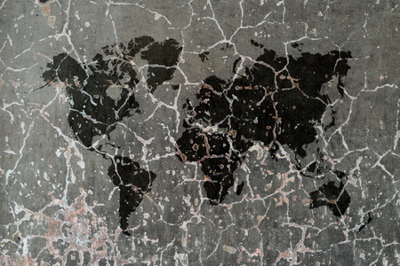 Polished bare concrete wall texture background with world map photo