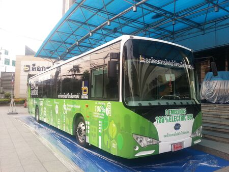Bangkok, Thailand - March 18, 2015 : Loxley co.,Ltd. opening a first electric bus in Thailand Editorial