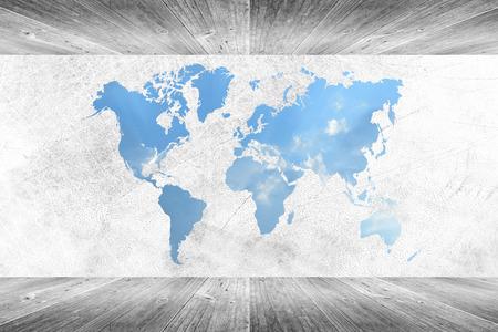 ウッドの壁と床の部屋インテリア テクスチャ背景の世界地図と白い色