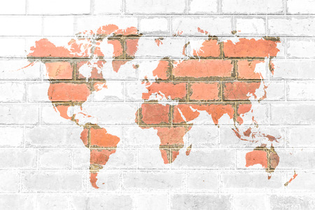 Red Brick wall texture background Soft tone White color with world map photo