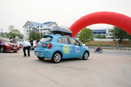 conducted: Chonburi, Thailand - March 21, 2015 : The 4th Nissan Eco caravan 2015 Driving Safety & Environment Preservation campaign. Chonburi to Nakhon Nayok. Conducted by Nissan Motor (Thailand) Co., Ltd.