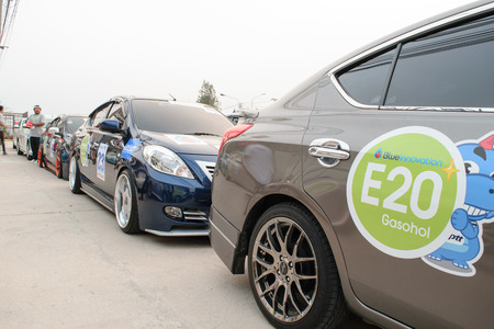 nissan: Chonburi, Thailand - March 21, 2015 : The 4th Nissan Eco caravan 2015 Driving Safety & Environment Preservation campaign. Chonburi to Nakhon Nayok. Conducted by Nissan Motor (Thailand) Co., Ltd.