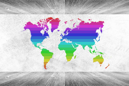 Wood wall and floor room interior texture background White color with colorful world map photo