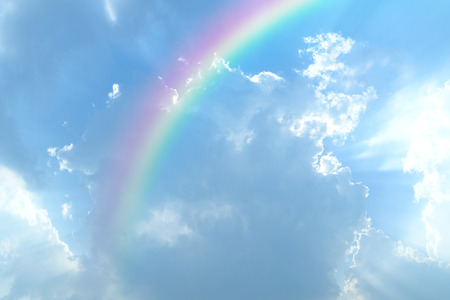 Blue sky and white cloud with sun light and rainbow Zdjęcie Seryjne