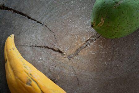 Papaya on the wood block natural color