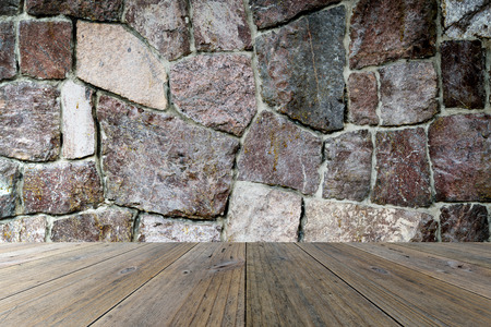 Wood terrace and stone wall interior texture background