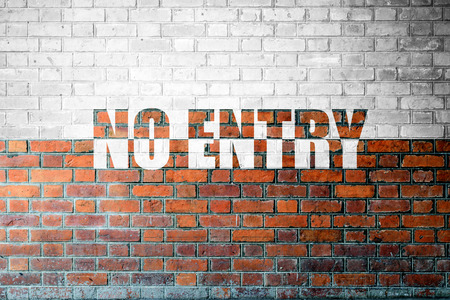 no entry: Red Brick wall texture background with a word No Entry