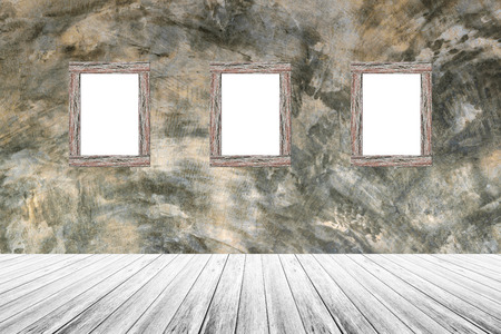 Wood terrace and Polished bare concrete wall with wood photo picture frame interior texture background photo