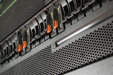 Computer Server and raid storage in datacenter Banco de Imagens