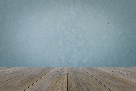 polished: Wood terrace and Polished bare concrete wall interior texture background