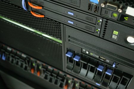 Computer Server and  CD or DVD drive in datacenter