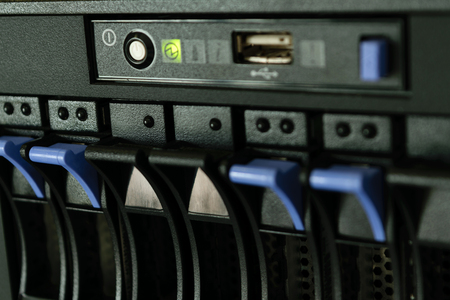raid: Computer Server and raid storage in datacenter Stock Photo