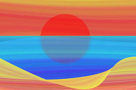 sunset beach: Art abstract illustration of sunset sky on beach and blue sea