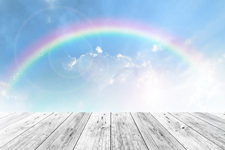 Wood terrace and Blue sky and white cloud with rainbow Archivio Fotografico