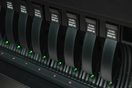 Computer Server and raid storage in datacenter Archivio Fotografico