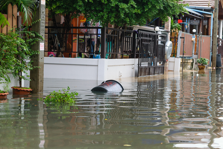 thailand flood: Bangkok, Thailand - October 3, 2015 : Water flood village in Don Mueang district. Problem with the drainage system. Editorial