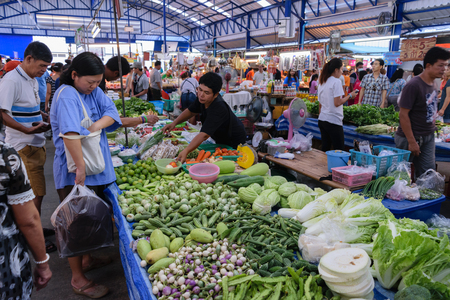 Bangkok, Thailand - August 22, 2015 : Thai exotic vegetables in market. Like the charming people, exotic vegetables greets you on almost every corner in Thailand. Editorial