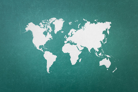 abstract world: Green blackboard with world map Stock Photo