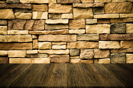 natural process: Wood terrace and Stone wall texture background surface natural color , process in vintage style