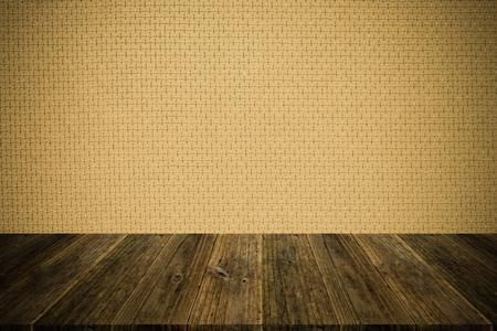 Terraza De Madera Y Fondo De La Textura Del Papel Pintado