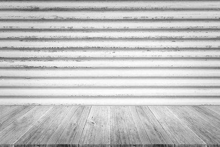 decorative balconies: Wood terrace and Metal rust wall texture background surface white color