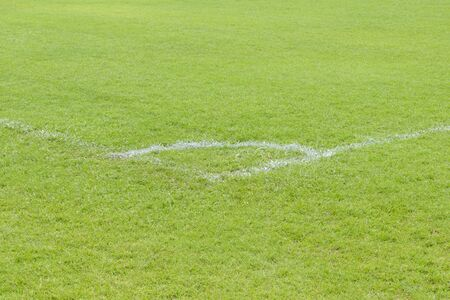 Corner of the football or soccer field. Stock Photo