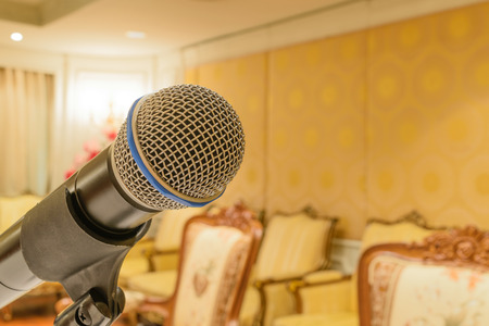 amplification: Microphone in seminar event defocus on meeting room background