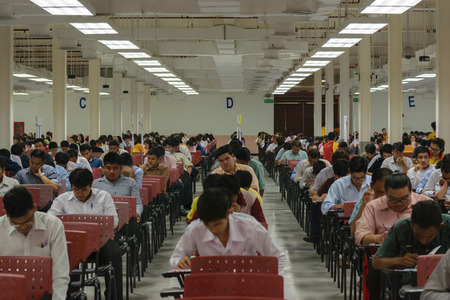 appoint: Bangkok, Thailand - October 25, 2015 : Adults take exam for appoint at State Railway of Thailand. Editorial