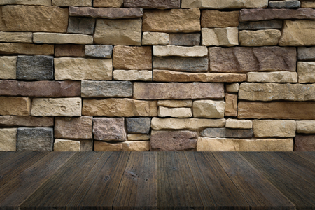 decorative balconies: Wood terrace and Stone wall texture background surface natural color