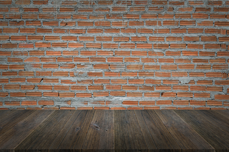 decorative balconies: Wood terrace and Red Brick wall texture background surface natural color