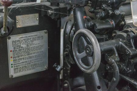 printery: Bangkok, Thailand - October 24, 2015 :  Sheet offset machine retro style in printery at Bangkok, Thailand. Editorial