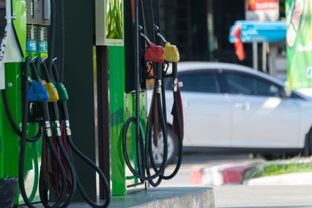Fuel pumps at a petrol gas station
