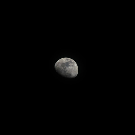 gibbous: The moon on Monday 21 December 2015 18:21 Bangkok, Thailand. Phase Waxing Gibbous Stock Photo