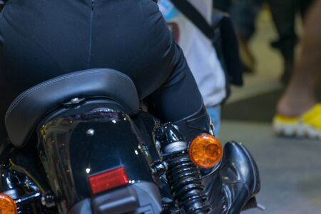 credentials: Zoom at motorcycle taillight in Car show event at Bangkok, Thailand. This a open event no need press credentials required. Stock Photo