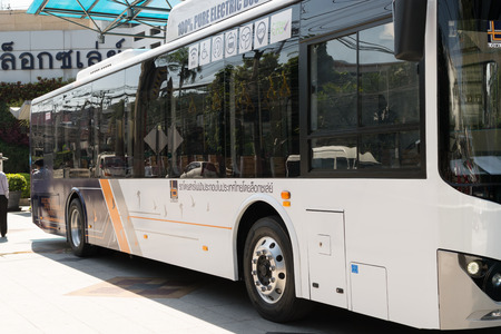 public company: Bangkok, Thailand - December 29, 2015 : Opening day electric bus first time in Thailand by Loxley Public Company Limited.