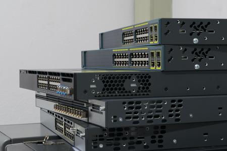 Network switch HUB in datacenter Archivio Fotografico