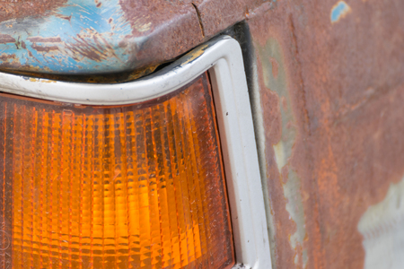 taillight: Old Taillight of vintage car with rust Stock Photo