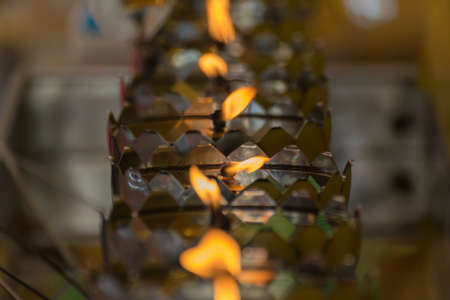lotus lantern: Thai style metal candle lantern in Thai temple Stock Photo