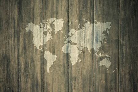 mapa de procesos: Wood texture surface natural color use for background , process in vintage style with world map