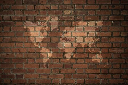 natural process: Red Brick wall texture surface natural color use for background , process in vintage style with world map Stock Photo