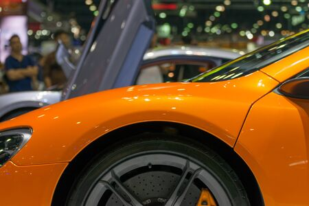 fender: Zoom at sports car wheel and fender in Car show event at Bangkok, Thailand. This a open event no need press credentials required.