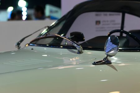 credentials: Zoom at classic car mirror in Car show event at Bangkok, Thailand. This a open event no need press credentials required.