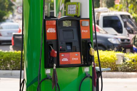 fuel pumps: Bangkok, Thailand - November 21, 2015 : Fuel pumps at a petrol gas station