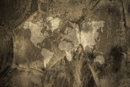 natural process: Wall texture surface natural color use for background , process in vintage style with world map