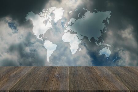 Nature cloudscape with blue sky and white cloud with Wood terrace and world map. Stock Photo
