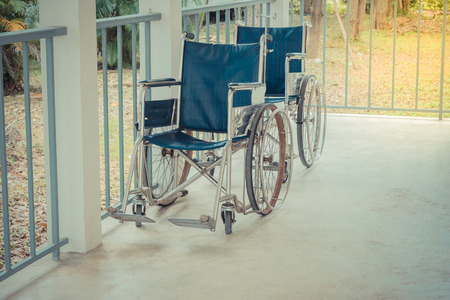mobility nursing: Wheelchair empty wait to use at hospital hallway
