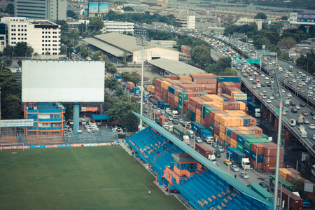 pat: Bangkok, Thailand - October 1, 2015 : PAT Football stadium aerial view. PAT Stadium is a stadium in the Khlong Toei district Bangkok, Thailand. Editorial