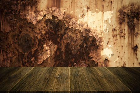 natural process: Metal rust wall texture surface natural color use for background , process in vintage style with Wood terrace and world map